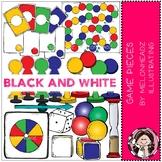 Game Pieces clip art - BLACK AND WHITE - Melonheadz clipart