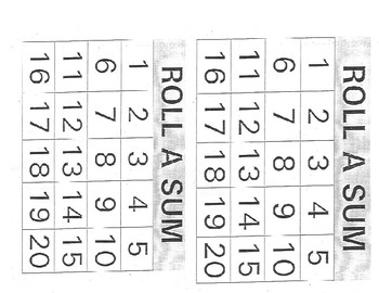 Game- Roll A Sum Addition Game