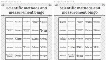 Game: Scientific methods & measurement bingo (25 cards)