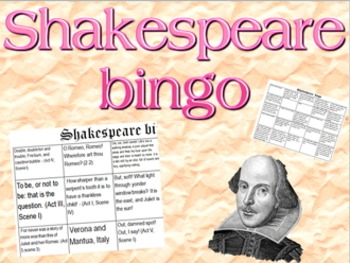 Game: Shakespeare bingo (quotes and settings)