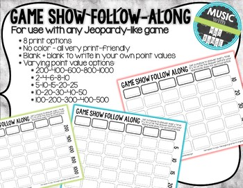 Game Show Student Follow Along Answer Sheet Template (Jeopardy inspired)