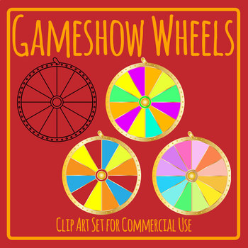 Game Show Wheel Blank Template Clip Art Set Commercial Use