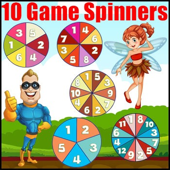Game Spinners - 10 Printable & Smartboard Game Spinners