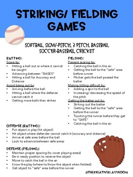 Game/ Sport Strategies: Striking/ Fielding Games