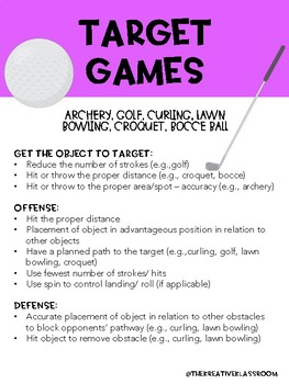 Game/ Sport Strategies: Target Games