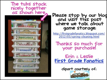 Game Storage Labels (months of the year)