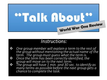 """World War One - Fun and Simple Game - """"Talk About"""" World War One"""