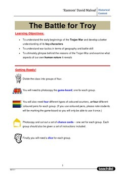 Game 'The Battle for Troy' Based on the novel 'Ransom' David Malouf