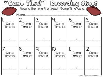 Game Time--Telling Time to the Hour-Self Checking QR Code Football Themed Center