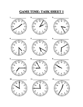 Game Time to teach how to read clocks, convert and determine start and end times