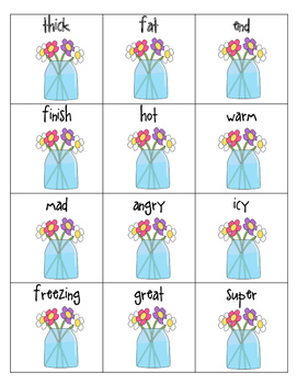 Synonyms Vocabulary Word Work: Synonyms are the Same First Grade