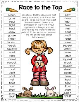 Game boards for aw & au sounds {Variant Vowels}