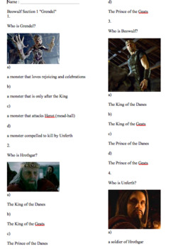 "Quiz & Game for Beowulf Section 1 ""Grendel"" and 2 ""Beowulf"" PRINTABLE"