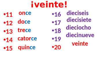 Game for Spanish numbers review 11 to 20