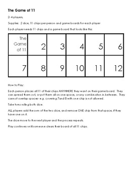 Game of 11 (Math)