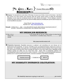 Game of Life Research - Dream Career/Education Research