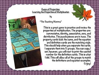 Game of Properties: Multiplication Properties