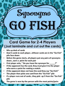 Game of Synonyms...GO FISH!!!