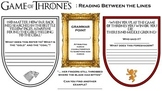Game of Thrones Comprehension Worksheet- Reading Between the Lines