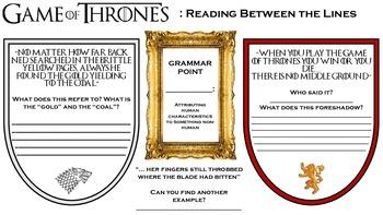 Game Of Thrones Comprehension Worksheet Reading Between