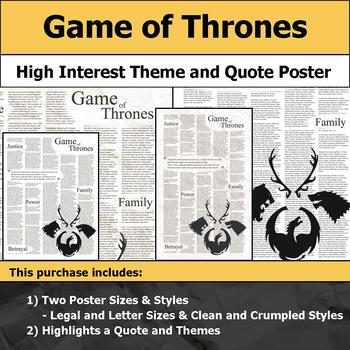 Game of Thrones - Visual Theme and Quote Poster for Bulletin Boards