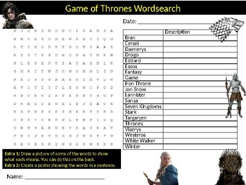 Game of Thrones Wordsearch Sheet Television Series Starter Activity Keywords