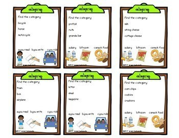 Game Cards for Language Categorize for Speech Therapy