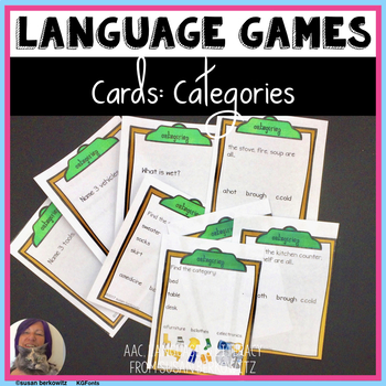 Game or Task Cards for Language: Categories for Speech The