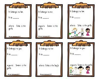Game or Task Cards for Language: Pronouns & Possessives Speech therapy ELA