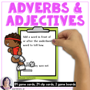 Adverbs and Adjectives Game or Task Cards for Language Speech Therapy or ELA
