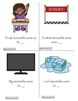 Game or Task Cards for Language: Synonyms Antonyms Speech Therapy Special Ed