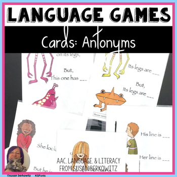 Synonyms Antonyms Game or Task Cards for Speech Language Therapy