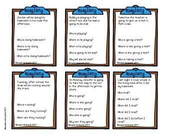 Answering Wh Questions Game or Task Cards for Speech Language Therapy