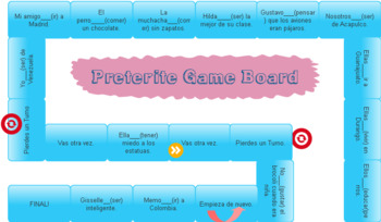 Gameboard to practice Preterite and Imperfect. in SPANISH