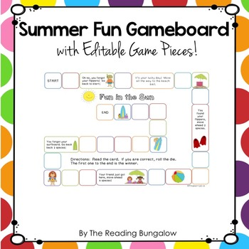 Gameboard with Editable Pieces {Summer Fun Edition}