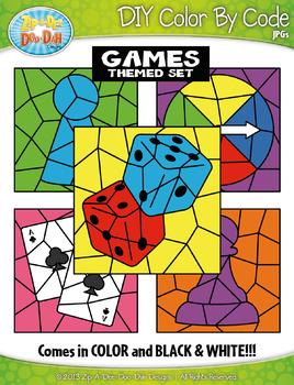 Games Color By Code Clipart {Zip-A-Dee-Doo-Dah Designs}