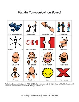 Games Communication Choice Board for ABA, Autism, or Speci