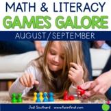 First Grade Math & Literacy Games for August & September