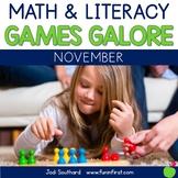 First Grade Math & Literacy Games for November