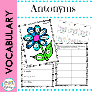 Antonyms Vocabulary Word Work Antonyms are Opposites First Grade