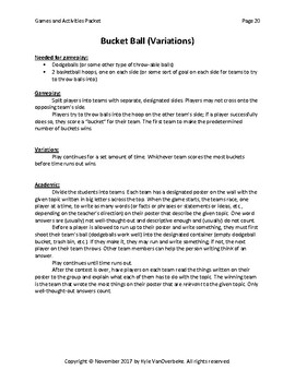 Games and Activities Packet