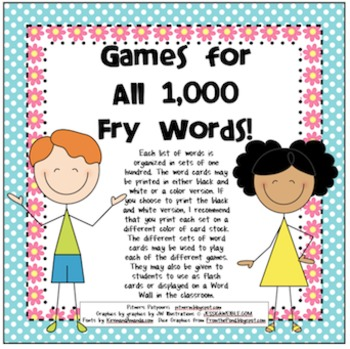 Games for All 1,000 Fry Words - Kiddos Theme