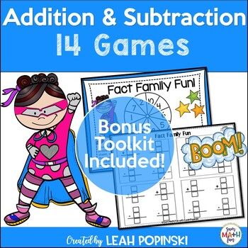 Addition Facts and Subtraction Facts Math Centers and Game