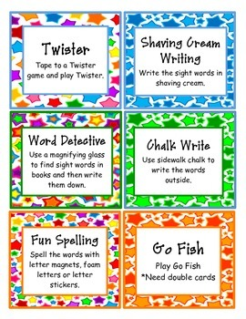 Games for Sight Word Cards