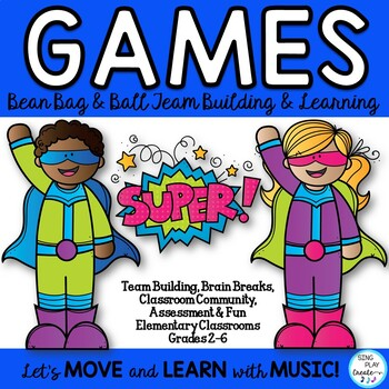 Bean Bag Games for Brain Breaks, Team Building, PE, Special Ed, Classrooms 2-6
