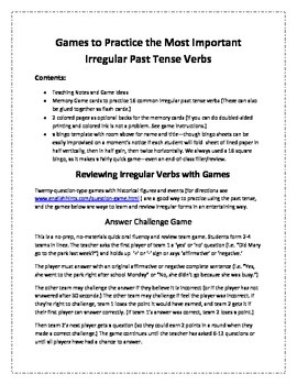 Games to Practice the Most Important Irregular Verbs