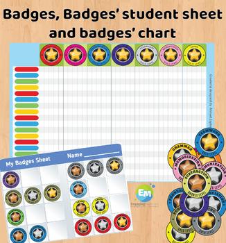 Gamification Elements Badges, Badges Sheet, Badges Point Chart