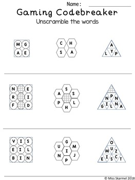 Gaming Related: sight words - high frequency words - code breaker +