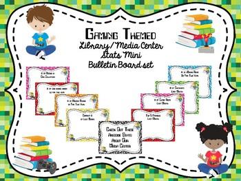 Gaming Themed Library Stats Mini Bulletin Board Set