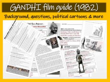 Gandhi (1982) film guide questions background political cartoons & stick figure